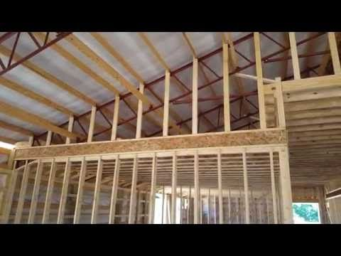STEEL TRUSSES Framing and Enclosing with WOOD - YouTube