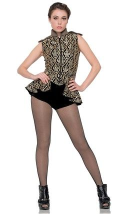 """ROMPER: Black velvet JACKET: (Removable) Black and gold sequined embroidery on mesh over black velvet, taupe glitter mesh and black tricot TRIM: Gold buttons, zipper closure and bronze piping HEADWRAP INCLUDED  SIZES: Child: M-L-XL, Adult: S-M-L-XL-XXL-XXXL FOR """"DIAMOND"""" EARRINGS SEE ACCESSORIES Made in the USA"""