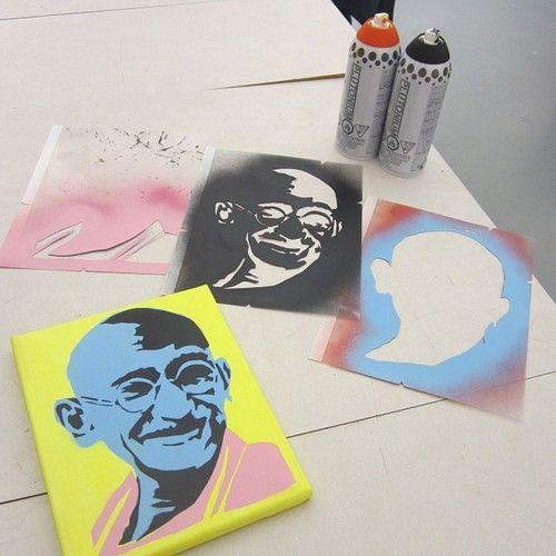 Plutonium™ Paint x Leo Hayes High School 12th Grade Stencil Art Class - New Brunswick, Canada. Three Layer Custom Cut #Ghandi Stencil by the students.