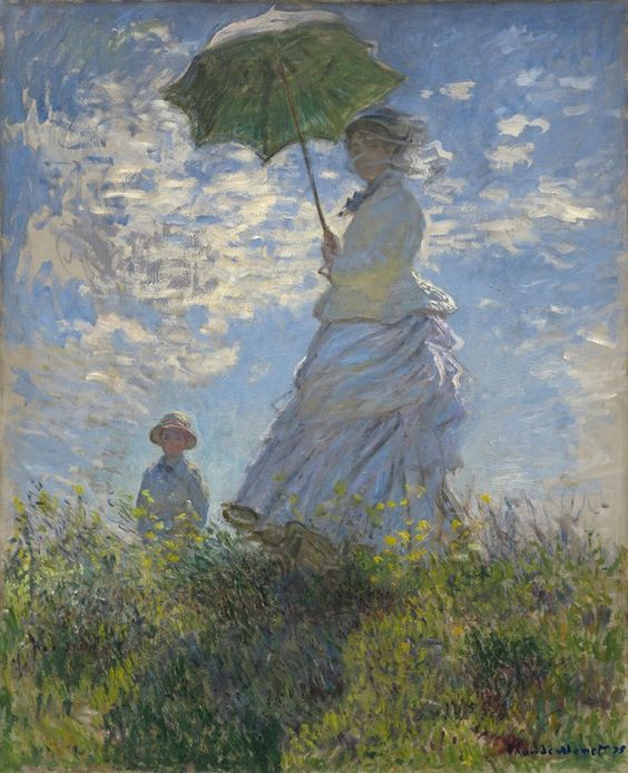 Woman with a Parasol - Madame Monet and Her Son, by Claude Monet