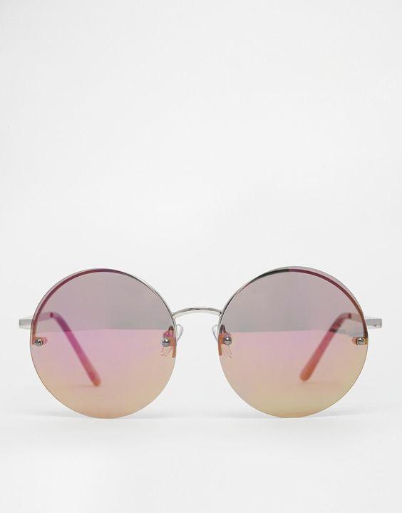 Image 2 ofASOS Round Sunglasses With High Flash Lens
