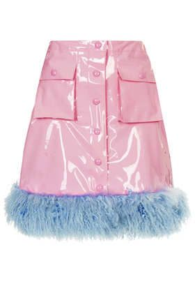HOLD UP. **Pink PVC Fur Trim Skirt by Meadham Kirchhoff