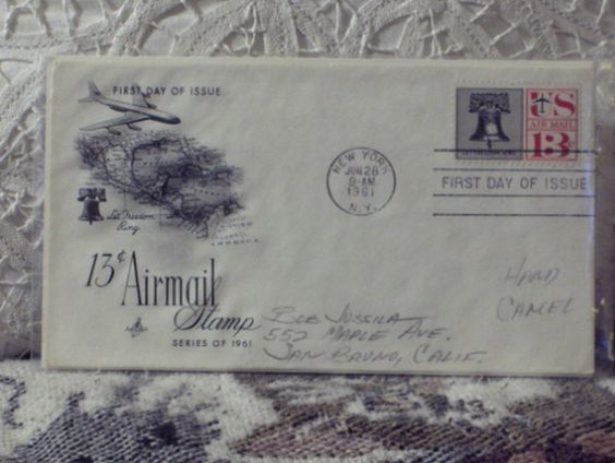 http://ajunkeeshoppe.blogspot.com/  First Day Issue / Cover - Stamp - U.S. Airmail 13c Stamp 1961 8ozP725B4HP1198