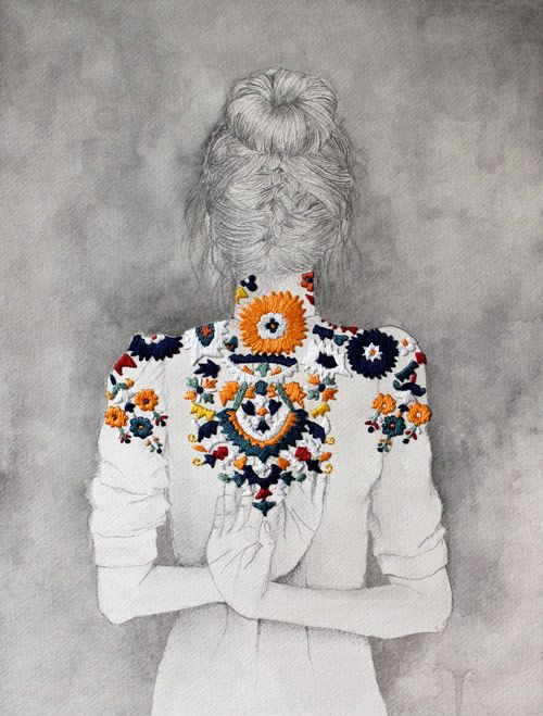 Embroidery and pencil drawing by Izziyana Suhaimi