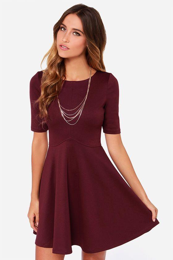 df07d51786 Black Swan Ocean Burgundy Skater Dress