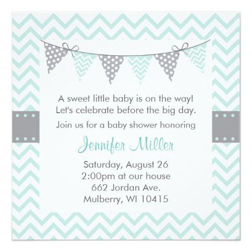 Green Chevron Baby Shower Invitations