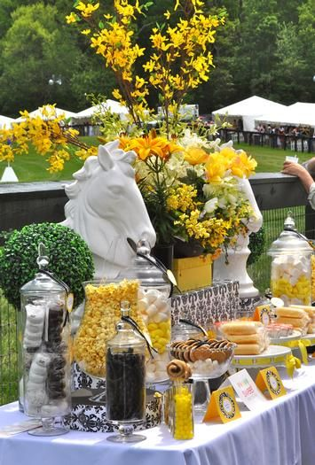 Yellow floral inspiration  Candy Dessert Buffet created by Sweet Event Design www.sweeteventdesign.com  for VA Gold Cup Charity Event    Kentucky Derby party inspiration:
