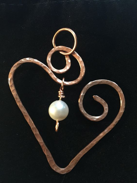 Copper Swirled Heart with Swarovski Pearl by CricketBArtsy on Etsy