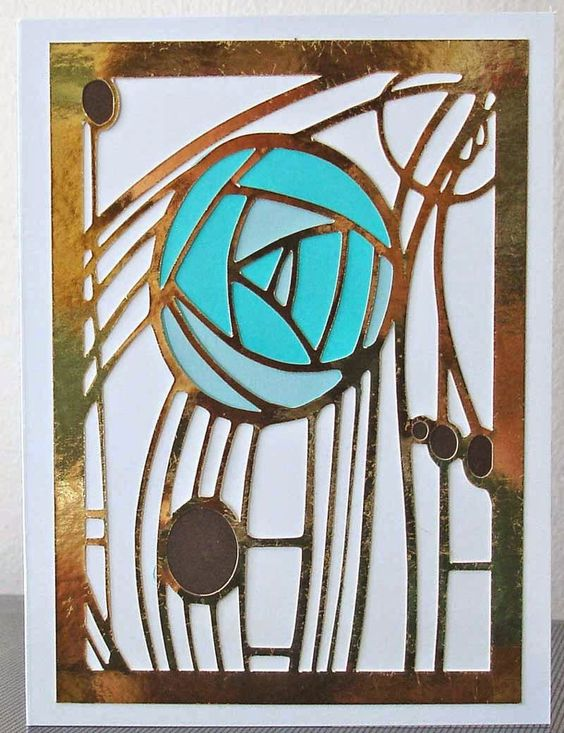 charles rennie mackintosh rose card in turquoise and gold. Black Bedroom Furniture Sets. Home Design Ideas