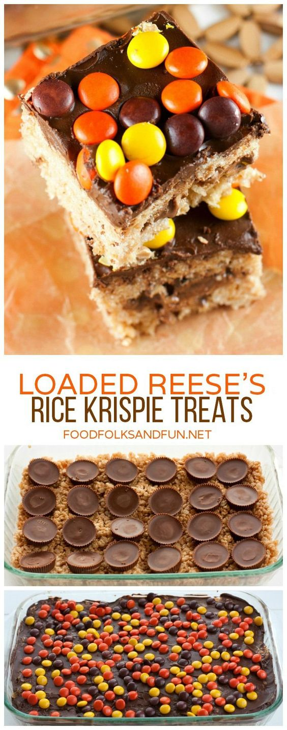 REESE'S Rice Krispie Treats loaded with REESE'S Peanut Butter Cups an...