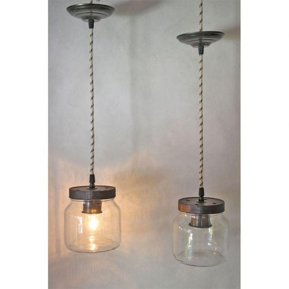 Lamparas colgantes hechas con frascos lamparas de - Colgantes de cristal para lamparas ...