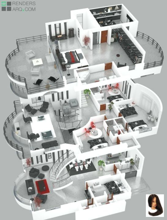 Bedrooms Design Home House Plans Design Home House Design Plans 3d 4 Bedrooms Home Design Hom Plan Maison Maison D Architecture Idee Plan Maison
