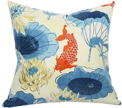 Koi fish printed pillow with lotus flowers swoon city for Koi fish pillow