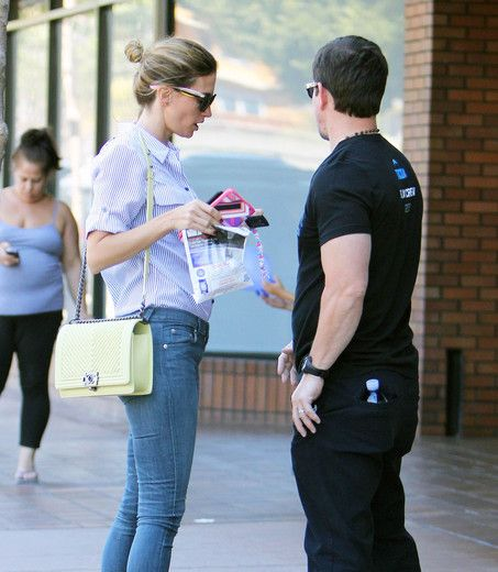 """""""Transformers 4"""" actor Mark Wahlberg and wife Rhea Durham enjoyed lunch in Santa Monica."""