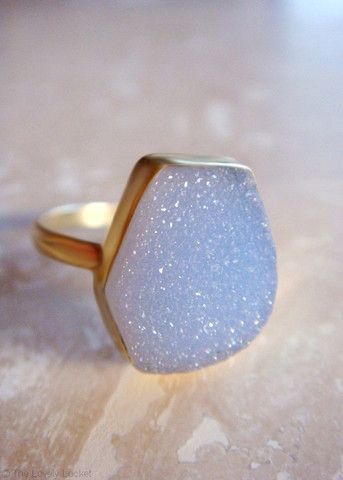 Blue Sparkle Genuine Druzy 24k Ring | Genuine Agate Druzy Stone Ring .925 Silver Dipped in 24k Gold | The Lovely Locket Collection