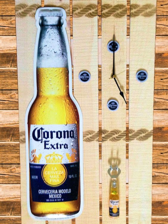 Corona Extra Beer clock sign bottle opener wall by ItsBeerThirty