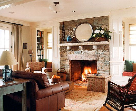 Beautiful stone fireplace and built-ins.  Ann Decker Architects