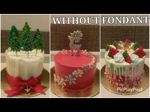 3 Easy Beautiful Christmas Cake Ideas Without Fondant