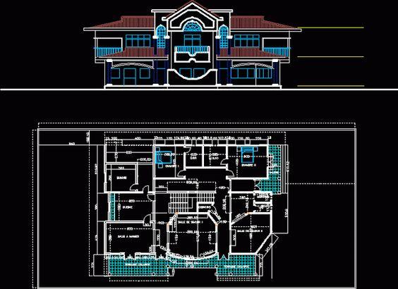 Conception d 39 une villa en dwg search and villas for Plan de maison avec autocad