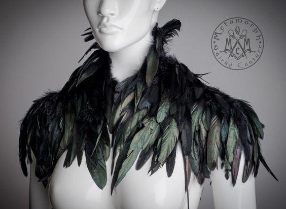 Black feather Shoulder piece Feather shrug High collar feather shoulder wrap…