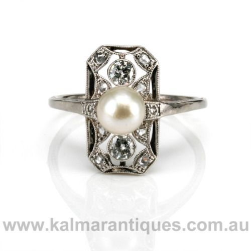 Art Deco Pearl and Diamond Ring from Kalmar Antiques