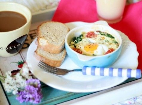 ... spinach, and tomato. | FOOD!!! | Pinterest | Baked Eggs, Spinach and