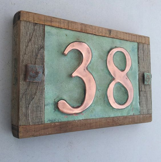 Real copper house number with weathered oak frame custom handmade 2 x