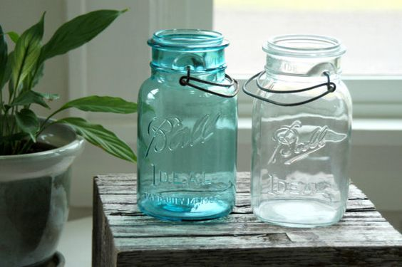 2 vintage  Wire Bail Mason Jars  Quart Aqua & by DancingMooney, $14.00