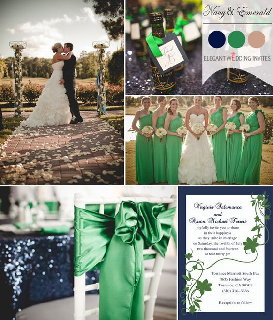 emerald and navy blue fall wedding color ideas 2014 #weddingcolors #fallweddingideas #elegantweddinginvites