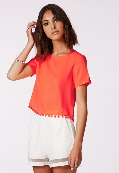 Work This Coral Pompom Tee With The Matching Shorts For