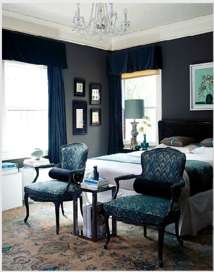 Love this colour combination of navy blue and mint green, gorgeous bedroom