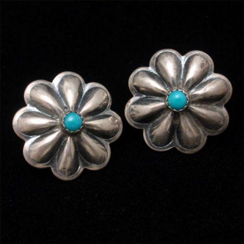 Sterling Silver Flower Earrings Vintage Pierced Ears Southwestern Turquoise