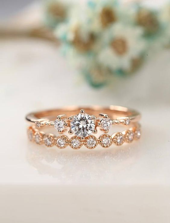 Moissanite Engagement Ring Rose Gold Vintage Diamond Wedding Ring