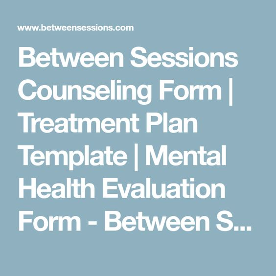 Between Sessions Counseling Form  Treatment Plan Template