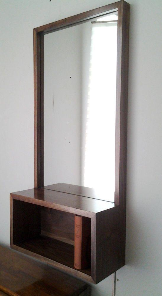 Details About Custom Walnut Entry Hall Mirror With Wall Box Shelf