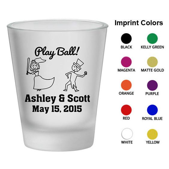 Frosted Wedding Favor Shot Glasses (Clipart 1580) Bride, Groom Playing Baseball - Wedding Favor - Personalized Glassware - Custom Shot Glass