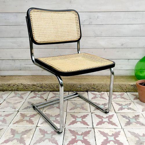 Chaise Chrome Et Cannage Brocanteandco Boutique En Ligne De Brocante Chaise Chaise D Exterieur Mobilier Jardin