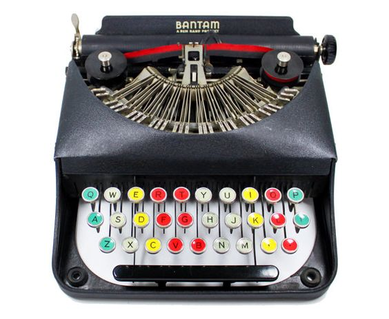 """The Bantam was created as a beginner's typewriter. It features simplified keys that have no numbers and only the most basic marks of punctuation. The machine's red, yellow, turquoise, and light green keys are colored-coded to teach proper typing."" $500"