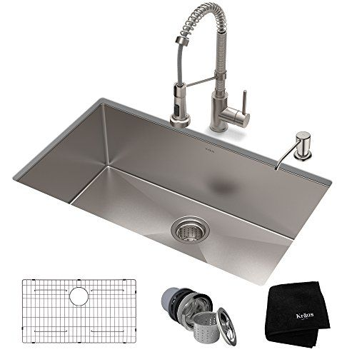 Kraus Khu100 32 1610 53ss Set With Standart Pro Sink And Http Stainless Steel Farmhouse Kitchen Sinks Single Bowl Kitchen Sink Stainless Steel Kitchen Sink