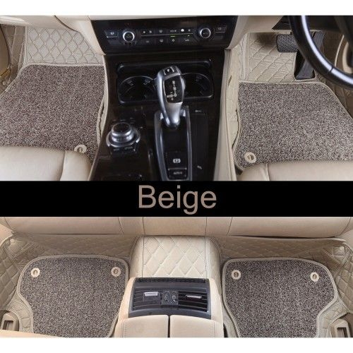 Hyundai I20 Elite 2018 Premium Diamond Pattern 7d Car Floor Mats Set Of 3 Black Beige Hyundai Waterproof Car Beige