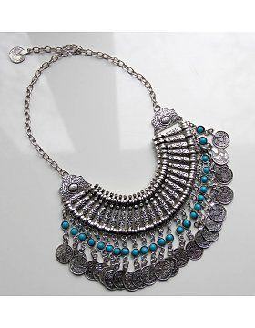Latz-Halskette groß mit Münzen