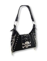 Black Handbag with Rhinestone Skull, Studs, and Chains