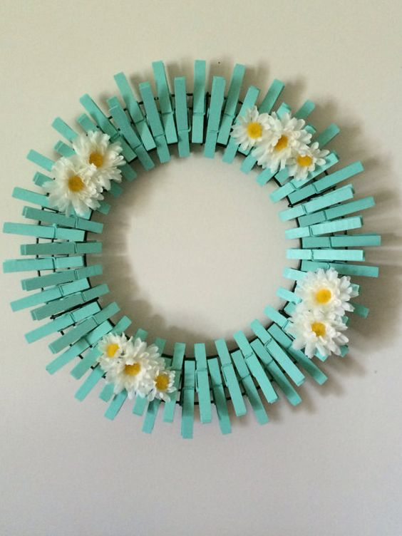 Beach Glass/Mint Handpainted Decorative Clothespins Wreath:
