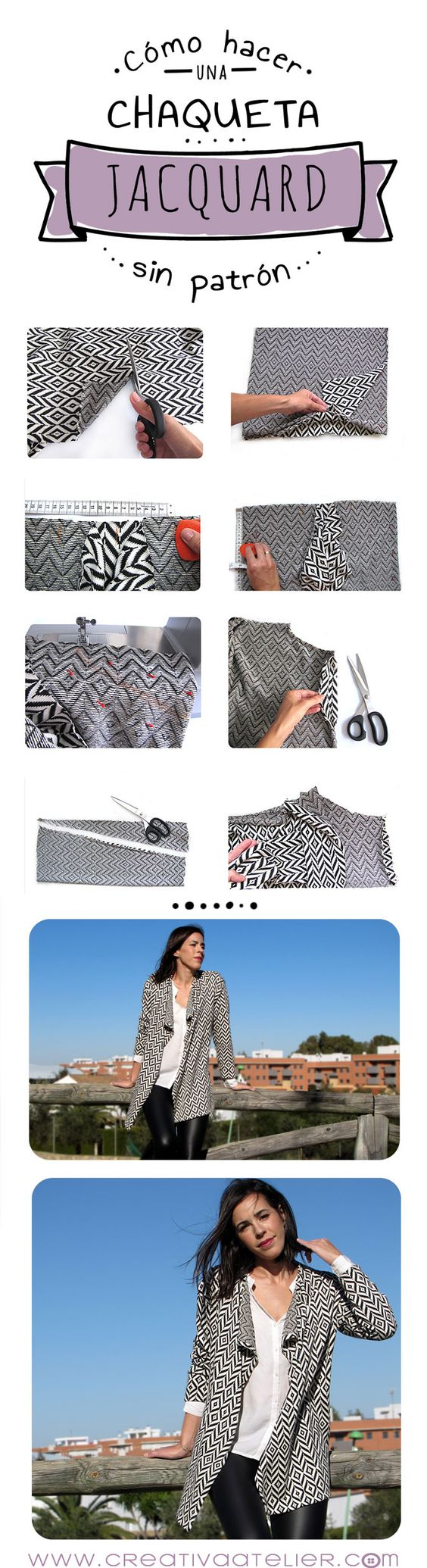 Cómo confeccionar una chaqueta jacquard sin necesidad de patrón #costura #DIY
