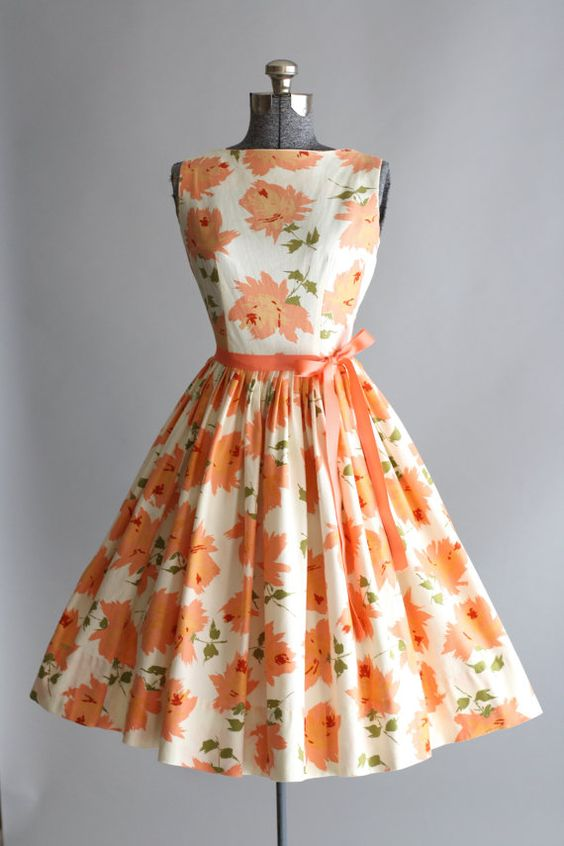 1950's Mindy Ross Peach Floral Print Cotton Sundress