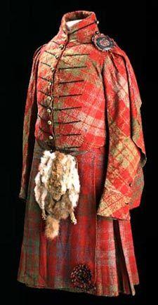 18th Century. Ross tartan kilt & jacket & The sporran: animal fur, including the head (flap over) & claws (clasps)