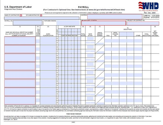 Certified Payroll Form  Page  Wh  Prevailing Wage