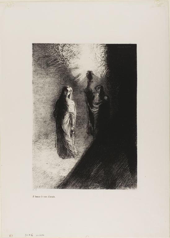Odilon Redon - He Raises the Bronze Urn, plate 4 of 10, 1888, Lithograph | The Art Institute of Chicago