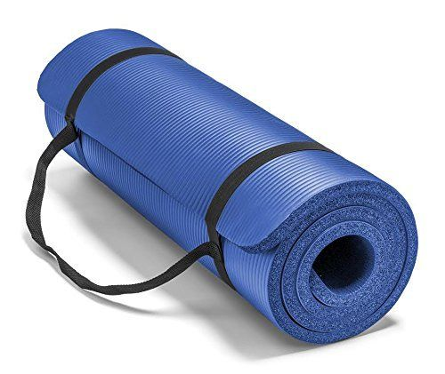 Spoga Premium 1 2 Inch Extra Thick High Density Exercise Yoga Mat With Carrying Strap Blue Workout Accessories Yoga Mat Reviews Mat Exercises