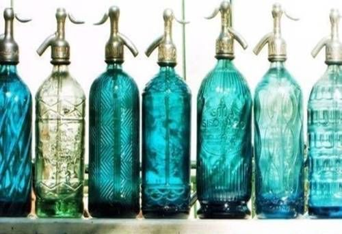 Syphon Bottles: Bottles Turquoise, Soda Bottles, Syphon Bottles, Glass Bottles, Color Turquoise
